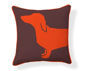 Orange and Brown Happy Hot Dog Pillow