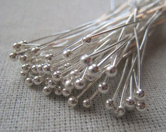 Silver Plated Ball Headpin 23 Gauge 2 Inch Headpin Item No. 8771