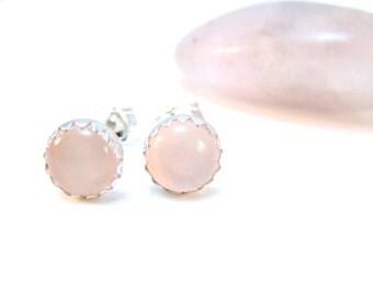 Pink Chalcedony Stud Earrings, 6 mm Light Pink Gemstone Studs