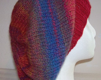 Wool/Acrylic Slouch Hat - Slouchy Knit Beanie - Knitted Dreadlock Toque - Hand Knit Hat - Aurora