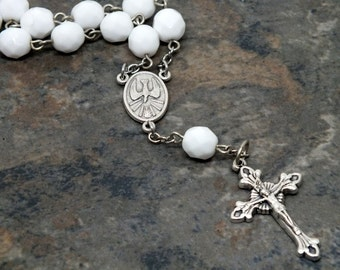 Czech Glass Car Rosary in Solid/Opaque White, 1 Decade Chaplet