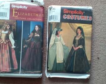 Lot 2 complete unused patterns medieval dresses Elizabethan Shakespeare costumes