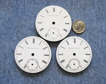 Pocket Watch Porcelain Dial Face Plate Lot Antique Elgin Watchmaker Findings for Diy Pendant Jewelry Altered Art Steampunk