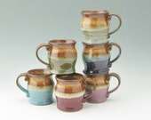 Stoneware Coffee Mug Made to Order - Pot Belly Soup or Tea Mug, 12 oz Beverage Serving Cup, Decorative Color Choices