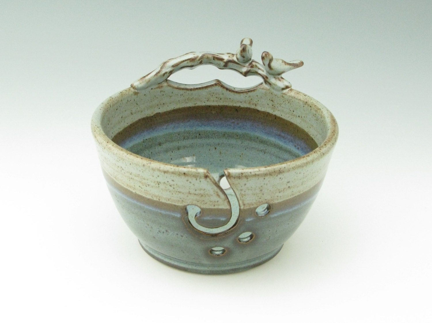 Handmade Pottery Yarn Bowl Decorative Love Birds 7 inch