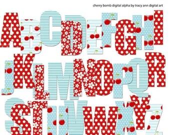 Cherry Bomb  Digital Alphabet Red and Blue