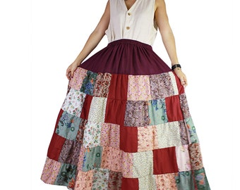 Boho hippie floral cotton patchwork long skirt (PW 01)