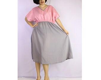 Pink Gray  Cotton Patchwork Short Boho Baby Doll Women Dress S-L  (TU 2)