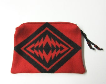 Large Zippered Pouch Cosmetic Bag Accessory Organizer Southwest Blanket Wool Scarlet Red