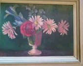 Vintage Flowers  Acrylic Painting Mid Century 1950's