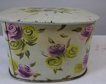Vintage Yellow and Pink Roses Tin Box Mid Century 1950's - 1960's
