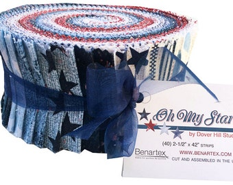 "Benartex OH MY STARS Pinwheel 2.5"" Precut Fabric Quilting Cotton Strips Jelly Roll Dover Hill"