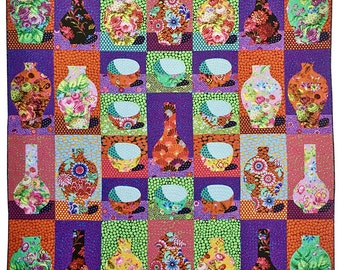 "30% Off + Free Ship Kaffe Fassett 20th Anniversary Fabric Quilt Kit - Finished Size 84"" x 88"""