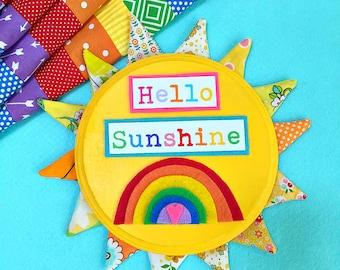 Petal Picture -- Mixed Media HELLO SUNSHINE Sun Wall Art