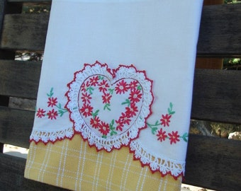 Sweet Heart Tea Towel Recycled Vintage Linen & Vintage Crochet to Upcycled Dish Towel Kitchen Home Decor Bright Yellow/White Dash Lines