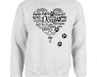 Heart Full Of Dogs and Paw Prints Art Men's Sweatshirt Small - 2XL