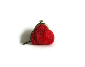 Red Cotton Kiss Lock Coin Purse Keychain, Womens Accessories, Knit Small Pouch Change, Money Holder, Stocking Stuffer Gifts for Her Under 20