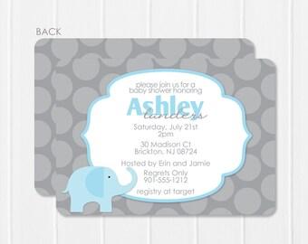 Blue Elephant Invitation - baby shower invitation - blue & grey invitation - blue and grey elephant invite - polka dot