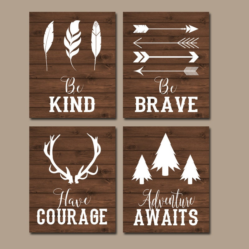 Wooodland quote wall art canvas or print boy nursery decor for Boys wall art