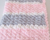 Crochet Baby Blanket, Baby Shower Gift, Crochet Baby Travel Blanket, Stroller-Car Seat, Baby Gift - Pink & Grey Gray - Ready to Ship