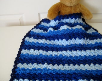 READY TO SHIP Crochet Baby Blanket, Baby Shower Gift, Stroller-Car Seat Travel Blanket, Nursing Blanket,  - Shades of Blue Baby Blanket