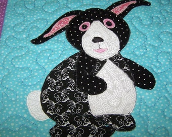 Wall hanging quilted rabbit nursery decor