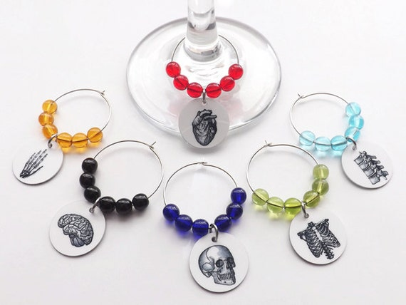 Anatomy Wine Glass Charms hostess physician assistant gift drink markers medical student white coat ceremony party favor housewarming doctor