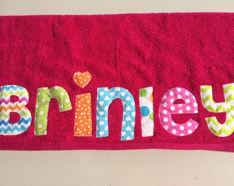 Personalized Name Back To School Nap Towel Kindergarten Birthday Beach BTS Fabric  GIRLS Boutique Custom maddie kate