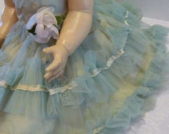 Vintage Doll Dress 1950's Blue & Cream Ruffled Tulle