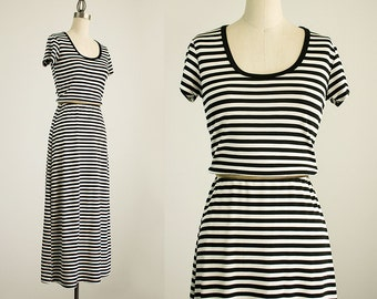 20% Off With Coupon Code! 90s Vintage Black And White Striped Spandex T-shirt Maxi Dress / Size Small / Medium
