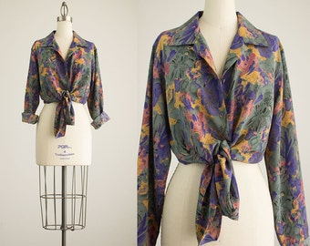 90s Vintage Floral Abstract Print Oxford Button Down Blouse / Size  Medium
