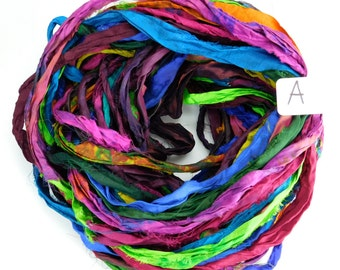 Sari Silk Ribbon, Recycled Silk Sari Ribbon, multi color ribbon, WIDE sari ribbon