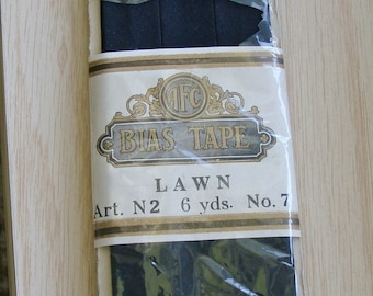 Vintage AFC Bias Tape Fine Lawn Single Fold Art N2 6 yards Black
