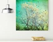 "Turquoise canvas art - retro wall art - aqua teal blue - yellow tree - flying birds blackbirds - canvas wrap art  30x30 20x20 ""Departing"""