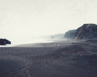 Beach photography charcoal gray misty landscape photography minimal wall art - Winter Beach