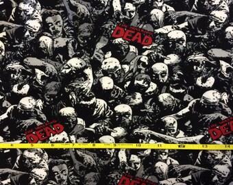 """NEW Walking Dead Zombie cotton lycra knit fabric 96/4 58"""" wide."""