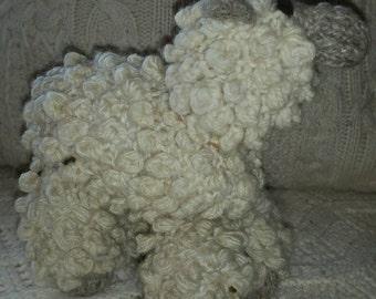 Handspun yarn, hand knit,Teeswater sheep, grazing sheep all wool stuffed