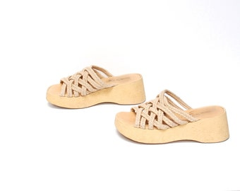 size 8 PLATFORM tan jute 70s 80s WOVEN WEDGE high heel slip on sandals