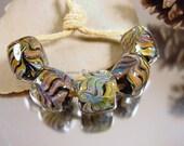 Lampwork glass beads, Artisan glass beads, black beads, green beads, blue beads, barrel beads,  SRA handmade artisan bead set.