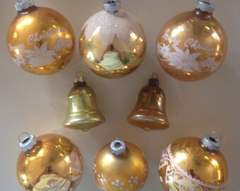 8 vintage glass ornaments, glitter and gold, Shiny Brites and others, bells and stencils