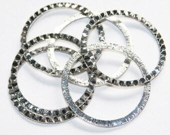Bulk 40 pcs of Antique silver texture Donut linking ring 49mm, antique silver donut ring