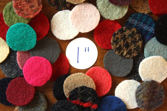 Felted Wool Circles -- 50 Wool Pennies -- 1-inch