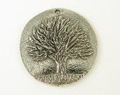 Tree Pendant Pewter Tree of Knowledge Round Botanical Nature Jewelry Charm |S3-8|1
