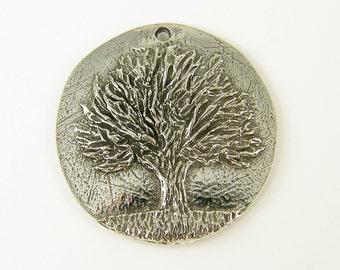 Tree Pendant Pewter Tree of Knowledge Round Botanical Nature Jewelry Charm  S3-8 1