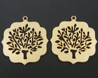 Gold Tree Earring Findings Tree of Life Earring Findings Cutout Tree Pendant Textured Gold Tree with Leaves Necklace Pendant Charm |G3-6|2