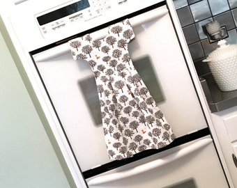 Fox in the Forest Kitchen Dish Towel / Tea Towel Dress in White, Black, Gray and Orange