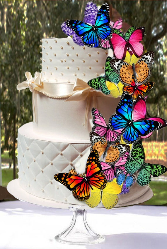 Butterfly Wafers Cake Decoration : 18 Edible Butterfly Wafer Cake Decorations cupcake