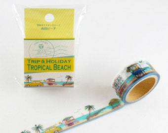 Tropical Beach Tape Round Top Masking Tape • Yano Design Debut Series Natural Washi Tape Beach YD-MK-064