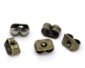 Earring Backs, Ear Nuts, Earring Stoppers, Antiqued Brass, 5mm, 100 Pieces, EARNUT-100-004