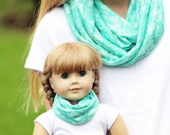 Matching Girl and American Girl Doll Accessories - Seafoam Lace Knit Infinity Scarves, Many Sizes Available